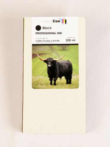 Hairy Coo Black 200ml Ink for Fuji DX100