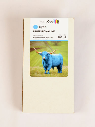 Hairy Coo Cyan 200ml Ink for Fuji DX100