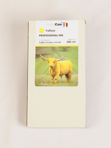 Hairy Coo Yellow 200ml Ink for Fuji DX100
